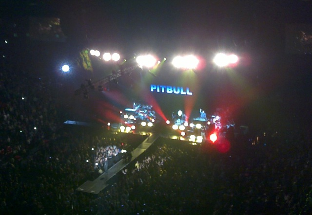 Pitbull on the Stage at AmericanAirlines Arena in Miami (Oct 22 2011)